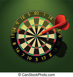 Dartboard with dart in the center