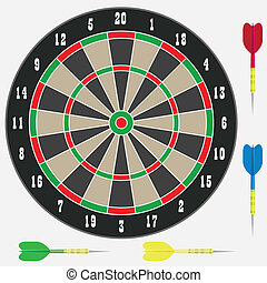 Dartboard with darts.