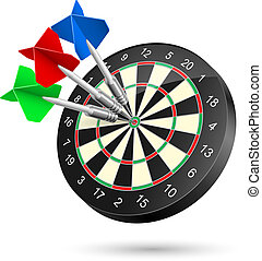 Dartboard with Darts hitting a target. Illustration on white