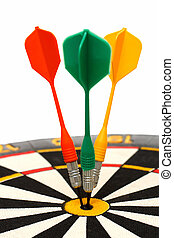 dartboard with darts in aim isolated on white