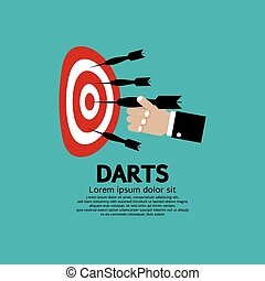 Dartboard with Darts in Hand.