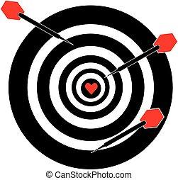 Dartboard with darts on white background