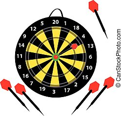 Dartboard with darts on white background