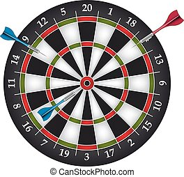 Dartboard with two darts