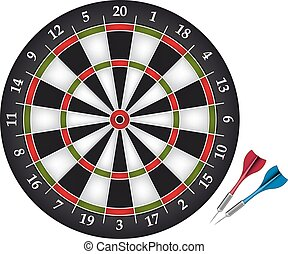 Dartboard with two darts - Dartboard game with two darts....