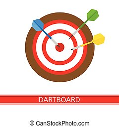 Darts and Dart Board Isolated - Vector illustration of darts...