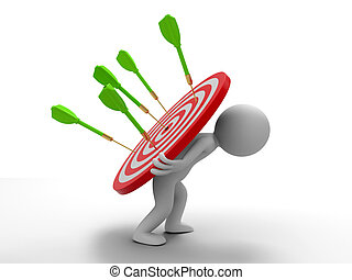 Darts and target - a people is carrying a dartboard with ...