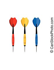 Darts arrow in flat style isolated on white background. Vector Illustration