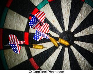 darts arrows in target