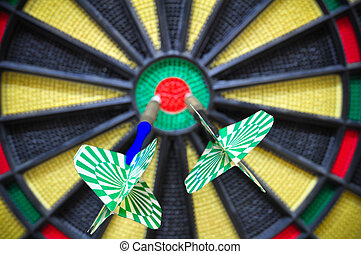 darts arrows in the target center, Darts game , arrows and ...