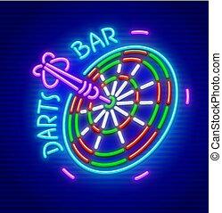 Darts bar neon sign icon