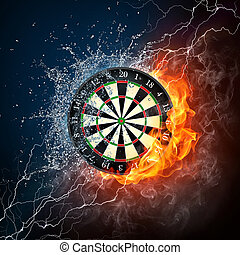Darts Board in Fire and Water Isolated on Black Background.