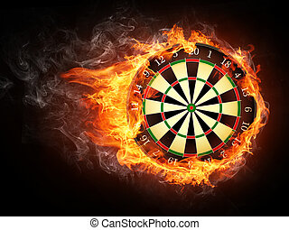 Darts Board in Fire Isolated on Black Background.