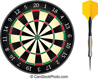 Darts Board Isolated on White Background. Vector.
