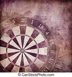 Darts Board in Old Paper Textured Background.