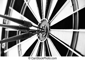 Darts bullseye target close up black and white