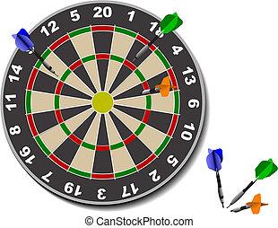 darts., bureau, jeu