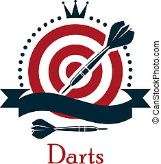 Darts championship emblem with a crown above a red and white dart board with a blank black banner ribbon and silhouetted darts