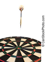 Darts - darts hitting the bullseye on a dartboard