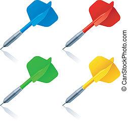 Darts. - Set of 4 color darts.