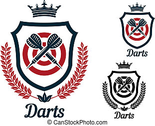 Darts emblems or signs set with dartboard, crown, heraldic ...