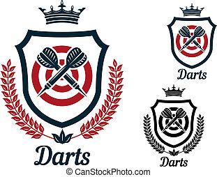Darts emblems or signs set with dartboard, crown, heraldic...