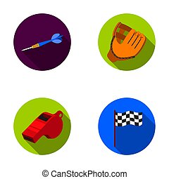 Darts for the game of darts, whistle for the referee, glove for playing baseball, checkbox for the football field. Sport set collection icons in flat style raster, bitmap symbol stock illustration web.