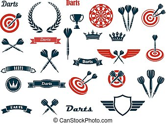 Darts game ditems and heraldic elements - Darts game items...