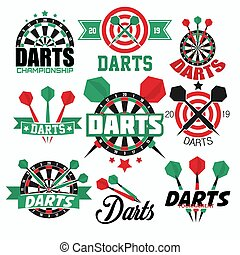 Darts game isolated icons sport aim or target