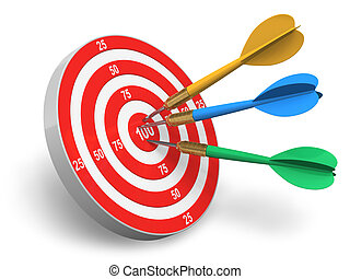 Darts game: red circle target and color arrows isolated on...