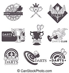 Darts game tournament vector sketch icons