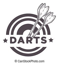 Darts game, two missiles, throwers on a dartboard sketch