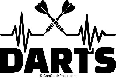 Darts heartbeat line with crossed darts