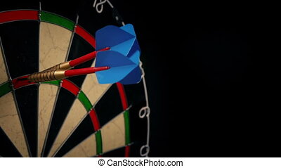 Three darts are thrown and hit three 20 scores