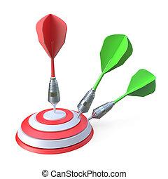 Darts hitting a target 3D