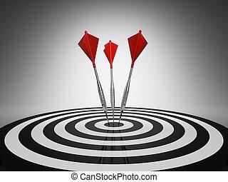Dart hitting a target on black background