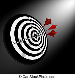 Darts hitting a target on black background