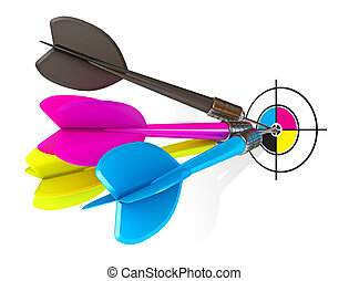 Darts hitting directly in bulls eye. CMYK. Conceptual...