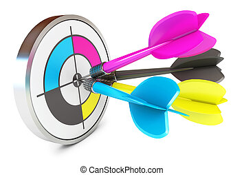 Darts hitting directly in bulls eye. CMYK. Conceptual...