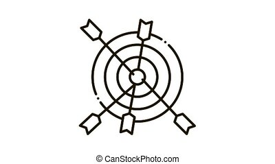 darts Icon Animation. black darts animated icon on white background