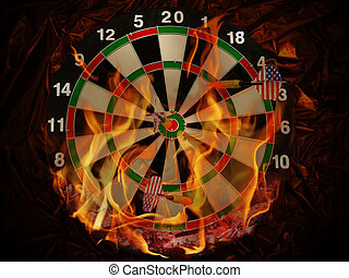 darts in flame - dart with arrows in flame at crumpled dark...