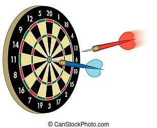 dart in motion to board with another dart in bulls-eye on white background