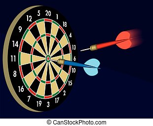 darts in motion to board