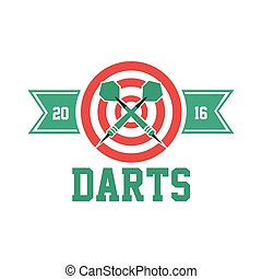 Darts label. Badge Logo. Darts sporting symbols.