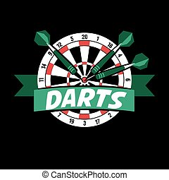 Darts label. Badge Logo sporting symbols. Darts, dartboard,...