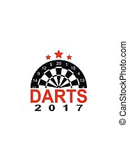 Darts label sports emblem and symbol isolated on white background. Dart board target icon.
