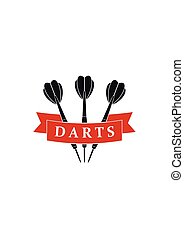Darts label sports emblem and symbol isolated on white background. Darts arrows icon.