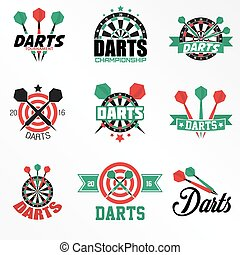 Darts Labels and Icons Set. Vector Illustration. Darts...