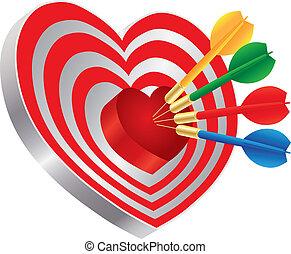 Darts on Heart Shape Bullseye Illustration