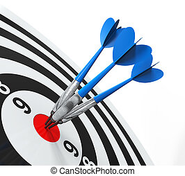 Darts on Target Close-up isolated on white background